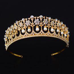 $enCountryForm.capitalKeyWord NZ - Vintage Pearl Women Tiara And Crown Gold Crystal Wedding Diadem Bride Headband For Party Prom Bridal Hair Accessories C18112001