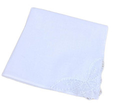 handkerchief for children Australia - handkerchief with embroidery white lace handkerchief for wed party banquet use 100% cotton cloth napkin