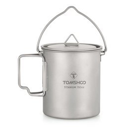titanium pot outdoor UK - ports & Entertainment TOMSHOO 750ml Titanium Pot Titanium Water Mug Cup with Lid and Foldable Handle Outdoor Camping Pot Cooking Pots Pic...