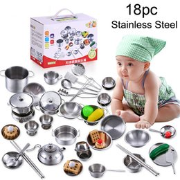$enCountryForm.capitalKeyWord Australia - 18pcs Kids Pretend Role Play Set Kids Play Stainless Steel House Kitchen Toys Cookware Cooking Utensils Pots Pans Gift T6#