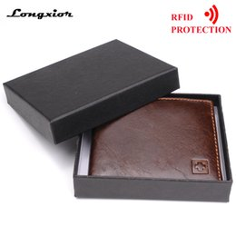 Black Blocks Australia - 100% Genuine Leather Wallet Men New Brand Purses For Men Black Brown Bifold Wallet Rfid Blocking Wallets With Gift Box Mrf7