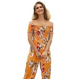 jumpsuit pant women floral Australia - 2019 new Suit-dress Printing Strapless Pants Woman Summer High Waist And Legs Nine Part jumpsuits rompers bodycon sexy club wear floral set