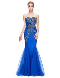 $enCountryForm.capitalKeyWord Australia - 2019 Sexy Backless Slim Evening Dress New Long Blue Mermaid Dress Strapless Dress Peacock Sexy Dinner