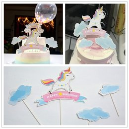 Party Decorations Tables Australia - Unicorn Party Supplies Flaky Clouds Rainbow Flags Happy Birthday Cake Dessert Table Decoration Papery Flag Simple Fashion 0 9tdD1