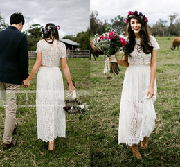 vintage honey Australia - Romantic Lace 2 Two Pieces Grass Garden Beach Wedding Dress Bridal Photography Travel Honey Moon Vestidos Faldas Custom Made