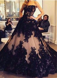 Wholesale black white gothic dress for sale – halloween 2020 Vintage Gothic Bridal Wedding Gown Plus Size Sweetheart Sweep Train Black Lace Up Ball Gown Wedding Dress Custom Made