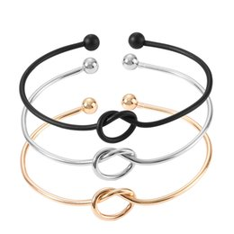 $enCountryForm.capitalKeyWord NZ - 11 color Simple love Tie knot Open Cuff Bracelets women Expandable Metal Wire Bangles For Female Ladies Fashion Jewelry accessories Gift