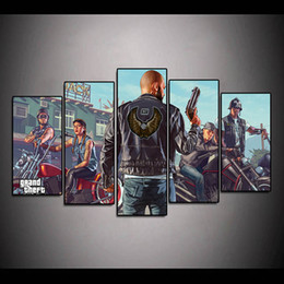 Auto Shoot Australia - 5Pcs Grand Theft Auto Steam Cool Shooting Games Print Oil Painting Poster Wall Art HD Print Canvas Painting Pictures