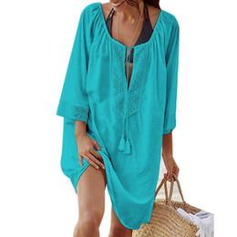 0e36931d95 2018 Women Bikini Cover Up Swimsuit White Beach Tunic Floral Lace Sundress  Swim Dress Loose Bride Swimwear Cover Beach Top Dress Y19060301