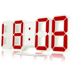 Large dispLay Led digitaL cLocks online shopping - 3D Digital LED Large Display Wall Clock Brightness Colorful LED Alarm Clock Hour Display for Home Wall Decor USB Cable