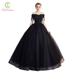 SSYFashion New Black Prom Dress Banquet Elegant Boat Neck Floor-length  Appliques Beading Evening Party Gown Formal Dresses C18122201 3ce0177cf22e
