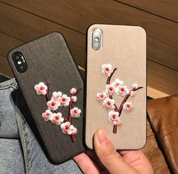 7g Mobile Australia - Chinese style wintersweet embroid mobile phone cover for iphoneX 6 6s 6splus 7G 7P 8G 8P cases