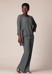 plus size mother groom pant suits UK - Plus Size Grey Chiffon Formal Pant Suits For Mother Groom Dresses Custom Evening Wear Long Mother Of The Bride Dresses With Jackets SH331