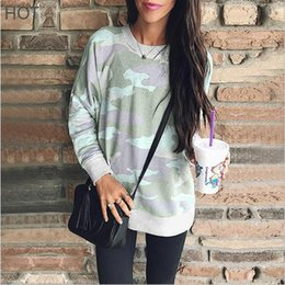 $enCountryForm.capitalKeyWord NZ - Female Camouflage Pullover Casual Hoodies Loose Long Sleeve Top O Neck Fashion Cotton Material Plus Size Women Printed T Shirt