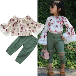 girls floral shirts Australia - 1-6Y 2PCS Toddler Kids Baby Girl Clothes Sets Long Lace Flare Sleeve Floral T-Shirt Tops+Ripped Jeans Pants Outfit Clothes