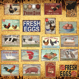 Wholesale chicken farms online – design Fresh Eggs Milk Metal Sign Farm Shop French Cafe Home Wall Decor Vintage Poster Tin Plate Happy Chicken Retro Plaque DH013