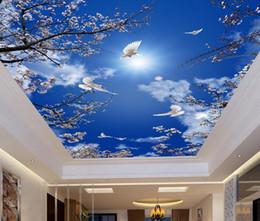 $enCountryForm.capitalKeyWord Australia - Custom PhotoBeautiful cherry blossoms blue sky white dove Ceiling Mural Paintings Living Room Ceiling Wallpaper Papel Pintado Pared