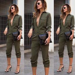 $enCountryForm.capitalKeyWord Australia - Women New Sexy Fashion Slim Bodycon Jumpsuit Long Sleeve Army Green Solid Casual Bodysuit Ladies Vintage Romper Long Jumpsuit