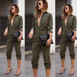 $enCountryForm.capitalKeyWord Australia - Women Sexy New Fashion Slim Bodycon Jumpsuit Long Sleeve Army Green Solid Casual Bodysuit Ladies Vintage Romper Long Jumpsuit