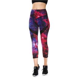 $enCountryForm.capitalKeyWord UK - JIGERJOGER 2018 Spring Summer Dark Red purple Galaxy Printed Cropped women's Capris Leggings Yoga shorts cross waistband shorts #225276