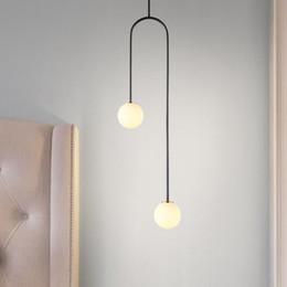 Ball Bedroom Lights NZ - Nordic Bedroom Bedside U Shaped Hanging Pendant Lights Modern Lamps Dining Room Living Room Bar Led Glass Ball Warm De Fixtures