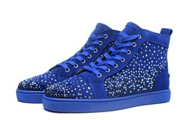 Star Shoe male online shopping - Blue Star Spikes Red Bottom Sneakers Luxury Designer Flat Casual Shoes Men High Top Red Sole Blue Suede Male Shoes