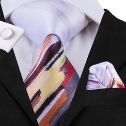 Discount tie cufflink set yellow - Hi-Tie Men's Silk Tie Set Beautiful Print Ties for Men Yellow White Novelty Print Necktie Handkerchief Cufflinks Se
