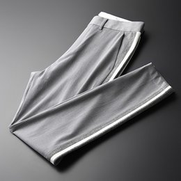 skinny trousers NZ - New Flower Yarn Men Pants Luxury Summer Casual Thin Men's Trousers Plus Size 4xl Business Slim Fit Grey Skinny Pants Men