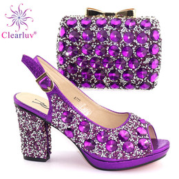 $enCountryForm.capitalKeyWord NZ - New Arrivals Italian Women Shoes And Bag Set With Rhinestones Pump African Shoes With Matching Bag For Evening Party Wedding