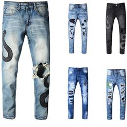 6e098e31 2019 Miri Estilo Europeo Marca Hombres Mujeres Pantalones Vaqueros de Lujo  Pantalones de Mezclilla Rectos Patchwork Blue Hole Jeans Pantalones Biker  Jeans ...