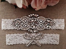 wedding ivory garter UK - Wedding Garter Bridal Garter Ivory Couture Pearl and Crystal Rhinestone and Toss Set on Ivory Lace 2pcs  lot