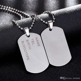 army dog chain NZ - New Brand Link Chain Man necklace Military Army Dog Tags Men's Stainless Steel Pendant Necklaces Jewelry Gift Choker Wholesale
