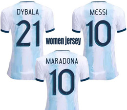 Wholesale ladys shorts for sale - Group buy 2019 Argentina Home Soccer Jerseys Women World Cup Football Jersey MESSI DYBALA Ladys Shirts Female Top Thai Quality Sport Uniforms