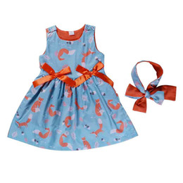 China 2019 summer new style kids sleeveless dress cartoon little foxes prints pattern bowknot baby headband and girls frock designs suppliers