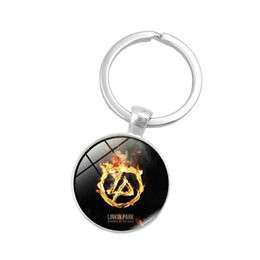 Linkin park pendant online shopping - Rock Band Linkin Park Logo Keychain Chester Bennington Art Photo Round Pendant Keyring Nostalgic Music Band Dome Logo Glass Cabochon Keyring