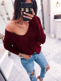V Neck Pullover Jacket Australia - New Sexy 2019 European and American Fashion autumn and winter sexy V-neck long-sleeved pit-striped solid-color loose jacket