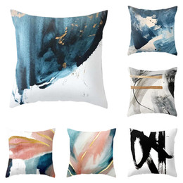 Hottest oil painting online shopping - Hot Geometric Pattern Cushion Covers Oil Painting Watercolor Cushion Cover Cotton Linen Pillow Covers Office Home Decoration
