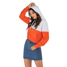 woman hoodies Canada - Fashion patchwork hoodie women clothes swetshirts orange grey woman hoodies long sleeve hoody female clothing