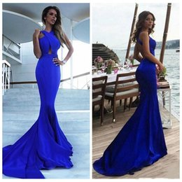 $enCountryForm.capitalKeyWord Australia - New 2019 Tight Mermaid Prom Dresses Hollow Back Criss Cross Sweep Train Simple Royal Blue Satin Evening Gown Special Occasion Dress Cheap