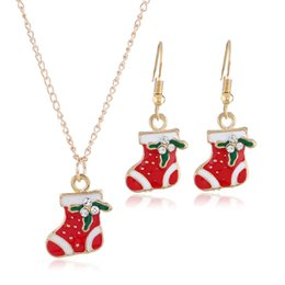 $enCountryForm.capitalKeyWord Australia - European American Women fashion jewelry Christmas soxes earrings necklace set birthday festival gift