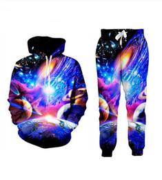 Wholesale womens galaxy hoodie online – oversize New Men Womens Galaxy Space Funny D Print Fashion Tracksuits Crewneck Hip Hop Sweatshirt and Pants Set Hoodies TZ43