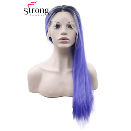 blue synthetic lace front wigs NZ - Long Straight Ombre Blue Dark Roots Synthetic Lace Front Wig Middle Part Heat Resistant Glueless COLOUR CHOICES