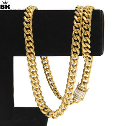 $enCountryForm.capitalKeyWord NZ - 10mm Gold Filled Curb Cuban Chain Men Hip Hop Stainless Steel Iced Out Rhinestone Link Miami Chain 75cm Long Chain Drop Shipping J190526