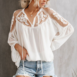 woman lace long NZ - Sexy Lace Mesh Shirt Embroidery Patchwork Women Casual Long Sleeve Tops Chiffon Blouse Ladies Loose Tops Shirts FemaleSexy Lace Mesh Shirt E