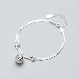 $enCountryForm.capitalKeyWord NZ - MloveAcc Genuine 100% 925 Sterling Silver Double Layer Box Chain Bracelets for Women Fashion Flower Pattern Ball Charm Bracelet