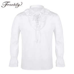 gothic collars Australia - Men Turn-down Collar Long Sleeve Lace-up Front Ruffled Tuxedo Shirts Gothic Steampunk Victorian Pirate Cosplay Shirt