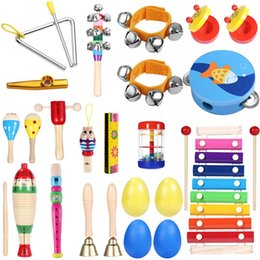 percussion set UK - 23 pcs Musical Toys Percussion Safe Non-toxic Toys Musical Instruments Educational Instruments Rhythm Set for Toddlers