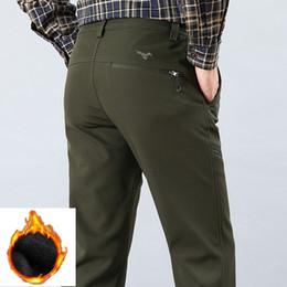 Warm Waterproof Pants Men Australia - Cargo Pants Men Waterproof Motorcycle Zipper Winter Pants Men Casual Thick Fleece Warm Army Black Trousers Male