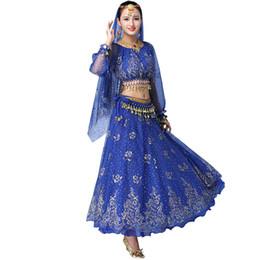 $enCountryForm.capitalKeyWord UK - New Belly Dance Costumes 6PCS (Skirt+Top+Belt+Veil+Bracelets) Bollywood Indian Clothing Women Stage Performance Bellydance Dress