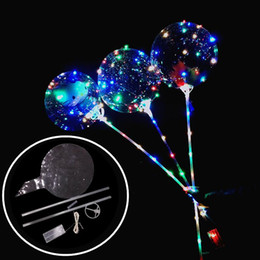 toys light bright NZ - New Luminous LED Balloons With Stick Giant Bright Balloon Lighted Up Balloon Kids Toy Birthday Party Wedding Decorations